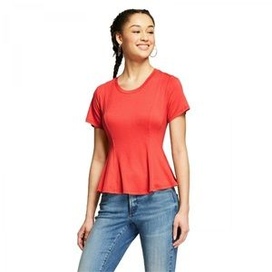 NWT Mossimo Women's Flowy Peplum T-Shirt XS Orange